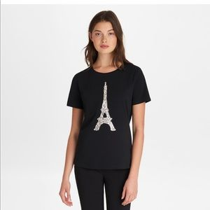 New Karl Lagerfeld  Black Sequin Eiffel Tower Tee